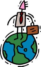 businessman on the world