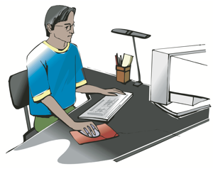man working at a computer