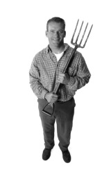 man with pitchfork