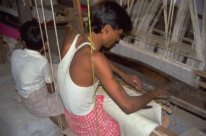 working at loom