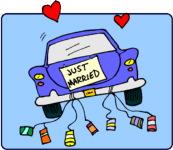 car leaving a wedding