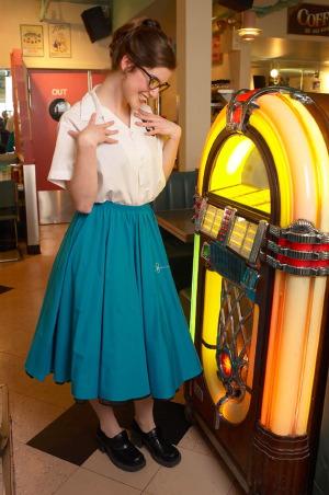 woman at jukebox