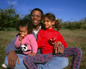 a man and his daughters