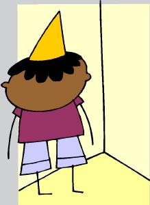 boy with dunce cap