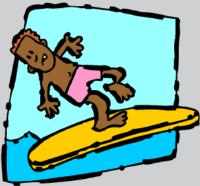 balancing on surfboard