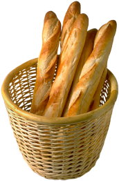 basket full of baguettes