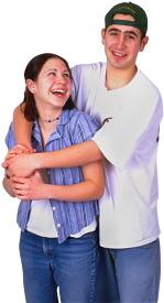 boy hugging girl