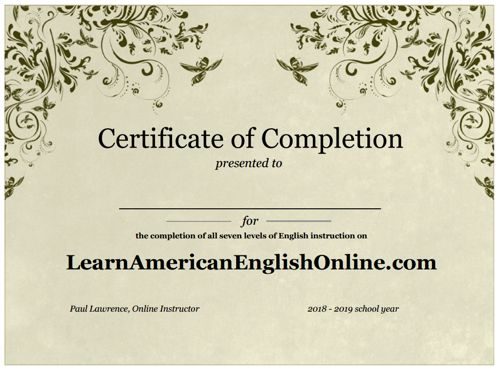 certificate of completion for 2018