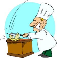 chopping an onion