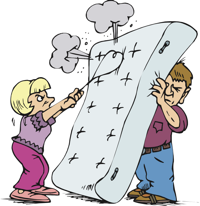 beating a mattress