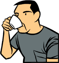 guzzling coffee