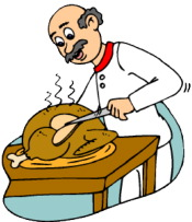 man carving turkey