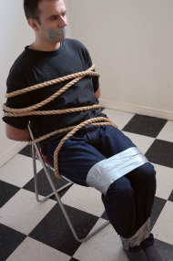man tied up