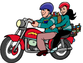 riding on a motorcycle
