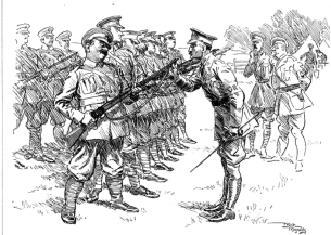 row of soldiers