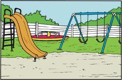 slide and swings