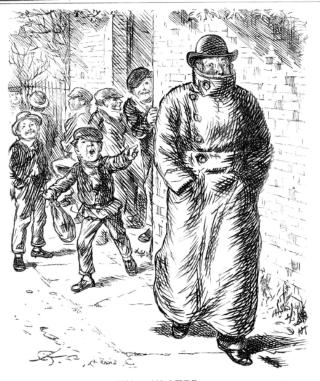 children teasing man