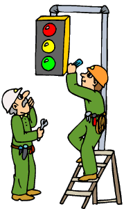 workers tweakin a traffic light
