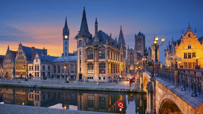 twilight in Ghent, Belgium