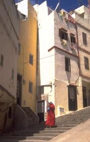 woman walking down steps
